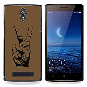 Omega Covers - Snap on Hard Back Case Cover Shell FOR OPPO FIND 7 - Peace Hand Sign