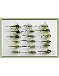 18Tête Perle Nymphe mouches de pêche truite. Olives, 3variétés, Mixte Taille 10/12