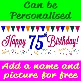 Happy 75th Birthday V2 PVC Banner With Eyelets Available in 3 Sizes (this size is 4FT x 1.5FT)