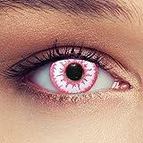 Designlenses farbige Kontaktlinsen für Halloween Karneval Zombie Pink Effect, weiß/rosa, Ohne Sehstärke, 2 Stück