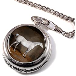 A Grey Horse in a Stable by William Burraud Full Hunter Pocket Watch