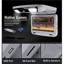 """Dvd techo 9"""" gris . Lector USB, SD, lector Sony, transmite en FM, ir, altavoces integrados, juegos de apoyo, luz de cortesía y entrada salida audio - video por rca."""