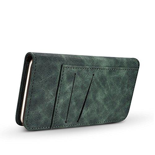 EKINHUI Case Cover Retro Style abnehmbare magnetische Leder Tasche mit großem Capard Card Cash Slots und Secure Niet Gürtelschnalle für iPhone 6 Plus und 6s Plus ( Color : Gray ) Green