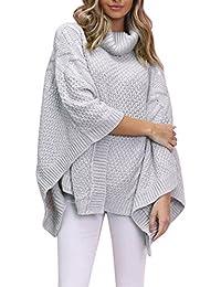 854f2d752f9018 Simplee Apparel Damen Winter Herbst Elegant Unregular Saum Rollkragen Cape  Ponchos Sweater Grau