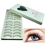 10 pares de pestañas postizas naturales para maquillaje de ojos hechas a mano largas pestañas postizas Sparse