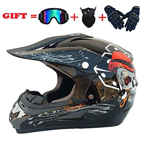 HYM Mountainbike-Helm, Fahrradhelm für Männer und Frauen mit Schutzbrille, Gesichtsmaske und Hartschalenhandschuhen, Schutzausrüstung für Motorrad-Offroad-Sturzhelme für Erwachsene,O-M