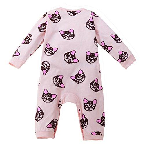Xshuai Kleinkind-Baby-Jungen-Mädchen-netter langer Hülsen-Kätzchen-Druck-Spielanzug-Overall (3 Monate, (Anzug Camo Skin)