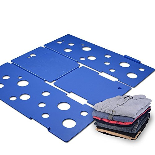 Kingwell Kleidung / T-Shirt-Ordner blau Kunststoff 3mm Stärke Hemd Faltplatte So schnell und einfach Wäsche Ordner Flip-fach Rack (Lang)