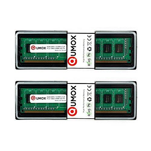 QUMOX Memoria Dimm 8GB2x 4GB DDR3 1333 PC3-10600 240