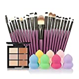 Jamicy® 6 Color Concealer +20 Makeup Brush + Water Powder Puff Fashion Women Makeup Set (B)