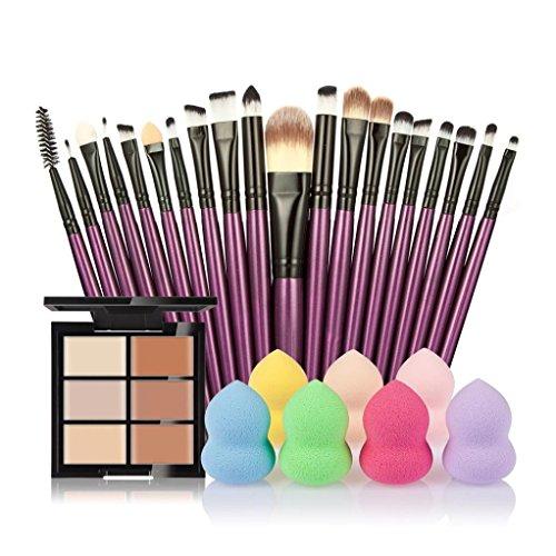Jamicy� 6 Color Concealer +20 Makeup Brush + Water Powder Puff Fashion Women Makeup Set (B)