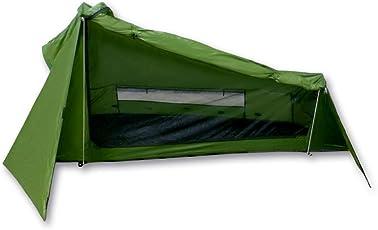 Ultraleichtes Trekkingzelt Trek Santiago von outdoorer - grün, 1,15kg, kleines Packmaß, auch mit Trekkingstöcken aufstellbar - das Leichtzelt für 1 Person