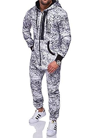MT Styles Jumpsuit ZIPPED Overall Sportanzug R-5102 [Weiß, L]