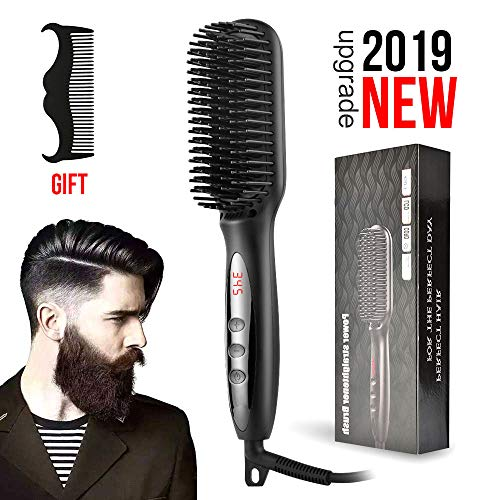 Men Quick Beard Straightener Comb, elektrische Lockenwickler-Bürste Wet and Dry Dual Use Anti-Verbrühungs-Keramik-Ionen-Haarbürste für alle Haartypen