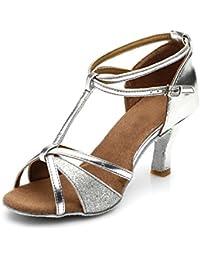 HIPPOSEUS Zapatillas de Baile Latino para Mujer/Brillo de Cuero, Altura del tacón 5CM / 7CM, Modelo 255