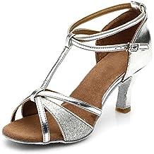 HIPPOSEUS Mujer Zapatos de Salón de Baile/Zapatos de Baile Latino Estándar/Cuero Brillo,Modelo 255