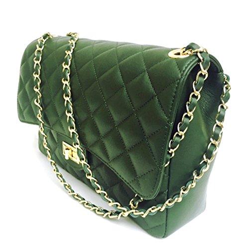 SUPERFLYBAGS Damen handtasche Schultertasche Echtes Leder Gesteppte Nappa model Parigi XL Made in Italy Grün
