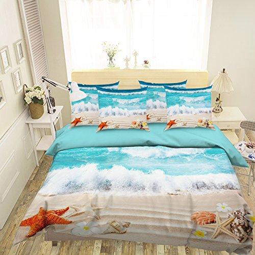 3D Beach Blue Sea Seestern 230Betten Kopfkissen, Steppdecke Bettbezug Set Einzel Queen King | 3D-Foto Bettwäsche, AJ Tapete UK Sieben