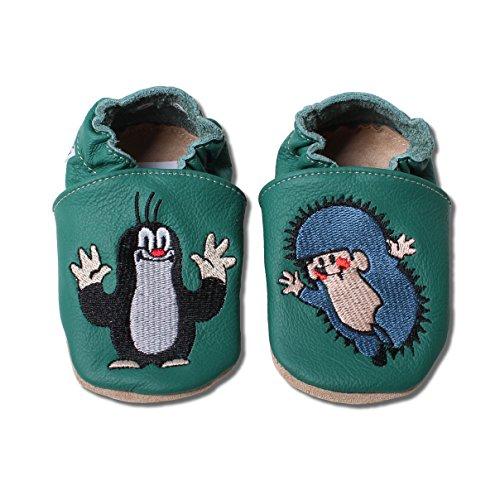 HOBEA-Germany Krabbelschuhe Babyschuhe Der kleine Maulwurf Pauli in verschiedenen Designs, Jungen und Mädchen, Schuhgröße:26/27 (30-36 Monate), Maulwurf:Igel in grün