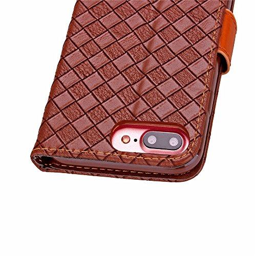 iPhone Case Cover Tissu motif PU TPU Housse En Cuir Avec Photo Fenêtre Main Sangle Carte Cash Slots Stand Case Pour IPhone7 ( Color : Red , Size : IPhone 7 ) Red
