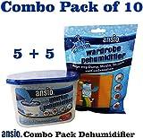 Interior & Hanging Wardrobe Dehumidifier (Combo Pack of 10) 5 x Interior Dehumidifier Tubs & 5 x Hanging Wardrobe Dehumidifier Bags