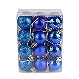 sudalv1971 24pcs Ornamenti in Plastica per Palline per Albero di Natale da 3 Cm con Palline da Appendere Blu