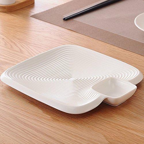 10 Zoll keramik quadrat-teller mit getaucht sauce schale kann japanisch sushi-snacks drain obst teller-A (Teller-sauce)