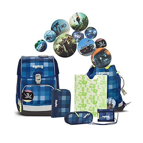 Preisvergleich Produktbild Ergobag - Schulranzen Set 7 tlg. CUBO - KaroalaBär - verschiedene Kletties (Fußball)