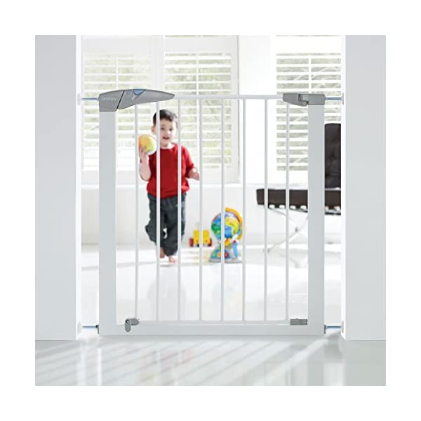 Lindam Sure Shut Axis Pressure Fit Safety Gate 76 - 82 cm, White Lindam Squeeze and lift handle for easy one handed adult opening Four point pressure fit - U shaped power frame provides solid pressure fitting; pressure indicator assures baby gate is installed correctly Also features second lock at the base of the gate 3
