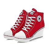 QIMAOO Damen Keilabsatz Schuhe Mädchen Canvas Sneaker Schuhe für Sport Freizeit Rot Größe 35-43 von