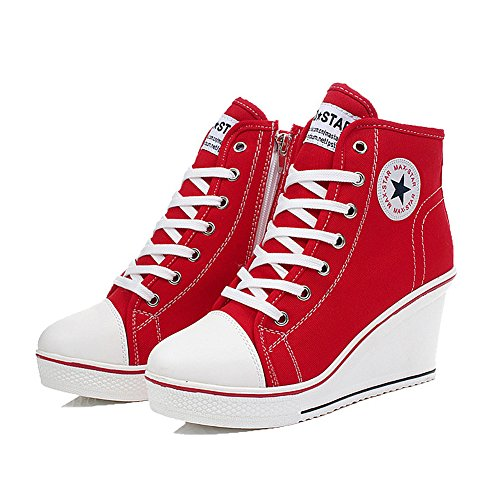 QIMAOO Damen Keilabsatz Schuhe Mädchen Canvas Sneaker Schuhe für Sport Freizeit, Rot, 42 EU (Mädchen Sneakers Rot)