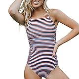 Damen Sommer Overall Frauen Gestreiftes Badeanzug Tanga Bikini Monokini Badeanzug Bademode Badebekleidung Swimming Moonuy