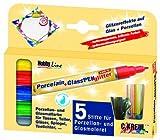 Kreul 16530 - Porcelain + Glass Pen glitter, halbtransparente Farbe mit Glitzereffekt, für Glas, Keramik und Metall, Strichstärke ca. 1 - 3 mm, 5 Stifte in sonnengelb, rot, blau, grün und anthrazit