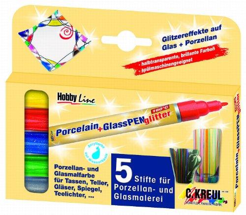 Kreul 16530 - Porcelain + Glass Pen glitter, halbtransparente Farbe mit Glitzereffekt, für Glas, Keramik und Metall, Strichstärke ca. 1 - 3 mm, 5 Stifte in sonnengelb, rot, blau, grün und anthrazit Glitter Line