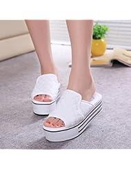 JIAJIA Zapatillas tacón plataforma sandalias y zapatillas plataforma femenino wedges zapatillas tangas 35 36 37 38 39 3 4 5 6 7 8 2 , white , 35