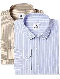Ex by Excalibur Men's Solid Regular Fit Formal Shirt (Pack of 2)
