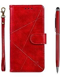 TOUCASA Funda Galaxy S9,Carcasa Galaxy S9,PU Cuero Slim Case de Estilo Billetera Carcasa TPU Silicona Case Interna Suave [Prismático] [Cierre Magnético] Funda para Samsung Galaxy S9(Rojo)