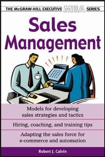 Sales Management (Executive MBA Series) por Robert Calvin
