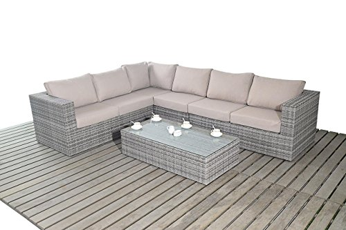 Port Royal Large Rustic Rattan Garden Furniture Corner Sofa Set – Natural