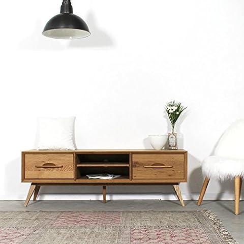 Meuble TV bois massif pieds compas style vintage 2 tiroirs,