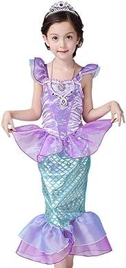 CANIS kleine Mädchen Onesie mit Rüschenärmeln Mermaid Princess-Fantasie-Kostüm