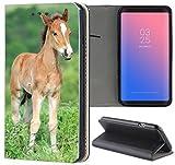 Samsung Galaxy S4 / S4 Neo Hülle Premium Smart Einseitig Flipcover Hülle Samsung S4 / S4 Neo Flip Case Handyhülle Samsung S4 Motiv (1531 Fohlen Pferd Tier Braun)