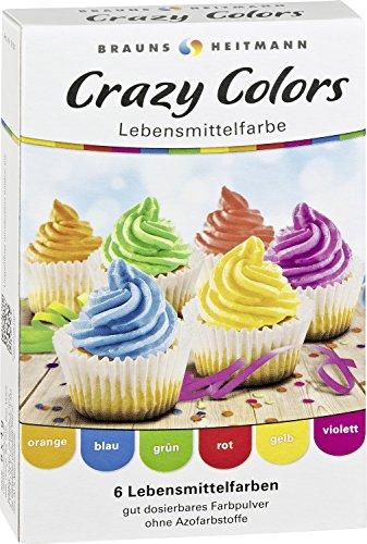Brauns-Heitmann Crazy Colors Lebensmittelfarbe Pulver, 6 Farben, 24 g
