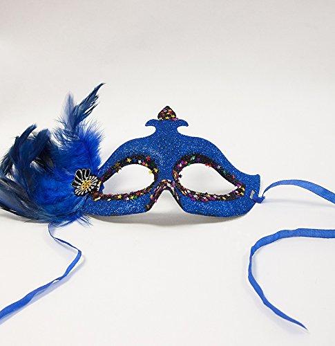 Masquerade Ball B–Glitzer Sterne + Federn–6Farben + 4Styles–Partys Events Zubehör 34cm x 11.5cm from the Widest and Highest Points blau (Masquerade Zubehör)