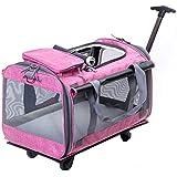 Transportador de Mascotas Plegable Mochila con Ruedas con Carro Integrado y asa telescópica, Bolsa de