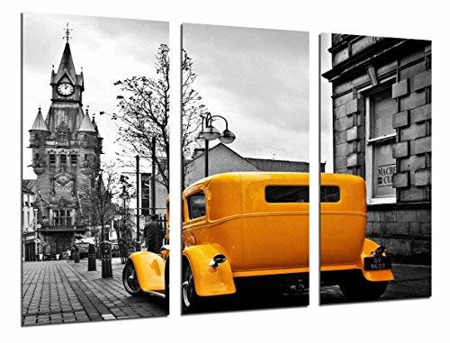 Cuadro Moderno Fotografico Ciudad Londres vintage Coche Clasico Amarillo, 97 x 63 cm, ref. 27024