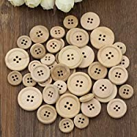 50 Pcs Mixed Wooden Buttons Natural Color Round 4-Holes Sewing Scrapbooking DIY qingsb