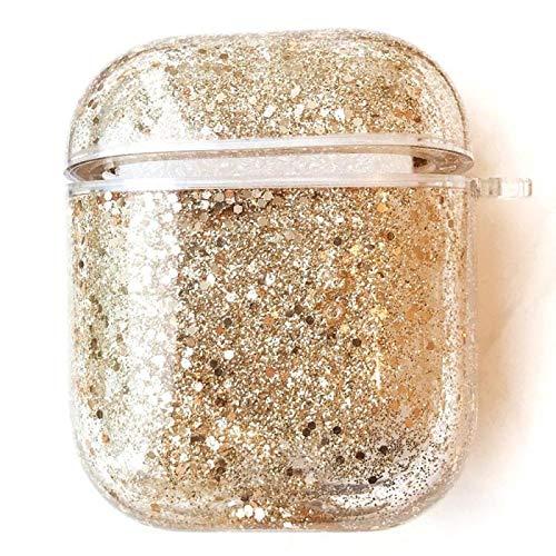 Klar Kristal Bling TPU für AirPods,Clear Liquid Diamond Sparkle Glitter Durchsichtiges Soft-Flex Gummi Dünn Flexible Weiche Silikon Gomma Gel Hülle