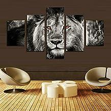 XrsArt5 pedazos blanco gris y negro de la cabeza del león de la pintura del retrato de la pared de la pintura del arte de las ilustraciones en el animal de la lona El cuadro para la decoración moderna