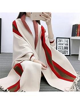 ZHANGYONG La Primavera y el Otoño Señoras BianFuShan Women Sweater Sweater Coat Manto de Rayas chales Manto de...